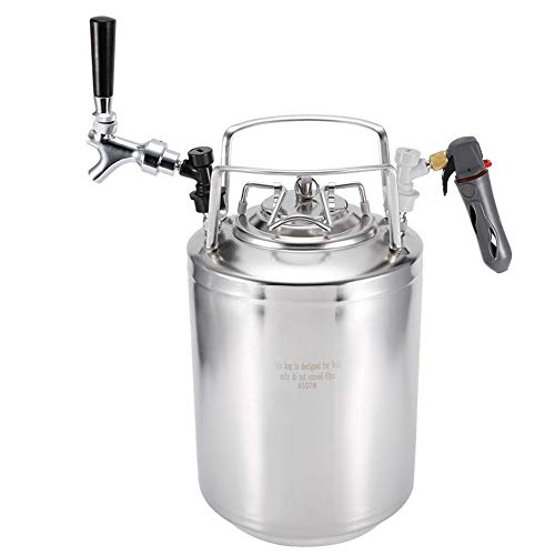 Sistema de elaboración de cerveza casera de barril de cerveza a presión de acero inoxidable con kit de grifo no ajustable para la fermentación/almacenamiento/dispensación de cerveza artesanal(12L)