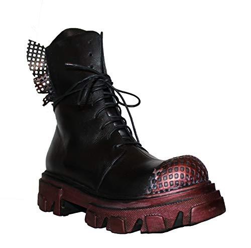 Papucei Stiefel Boots Gr. 37 Leder Melita Black - Red Plateau Damen (Black, Numeric_37)