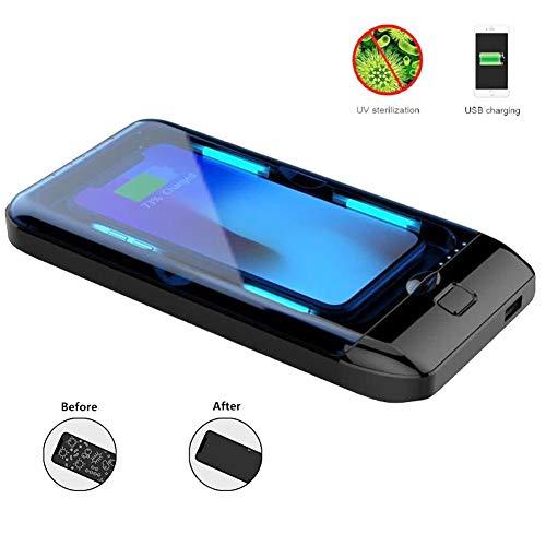 POEO Scatola di Sterilizzatore Sterilizzante A Luce, 3 in 1 Smartphone Caricabatterie Wireless con Ricaricabile USB, Scatola di Disinfezione Multifunzione
