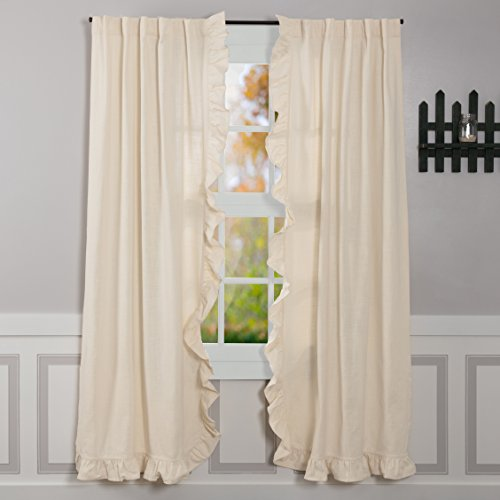"Piper Classics Ashley Natural Ruffled Panel Curtains, Set of 2, 84"" Long, Farmhouse Style Beige Cream Drapes"