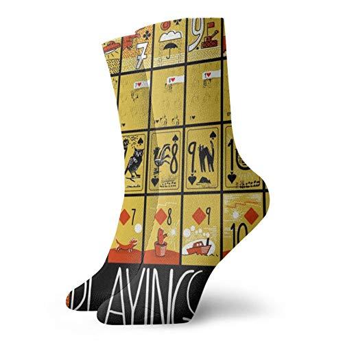 Jugar a la Tarjeta Unisex Transpirable Moda Quarter Calcetines de fin de semana Salón Corto Crew Calcetines de los Hombres de las Mujeres de los Calcetines Atléticos