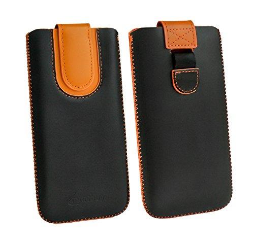 emartbuy Schwarz/Orange Premium PU Leder Slide in Pouch Hülle Cover Hülsenhalter Hulle Tasche (Größe LM3) mit Pull Tab Mechanismus Kompatibel mit Smartphones Aufgeführt Unten