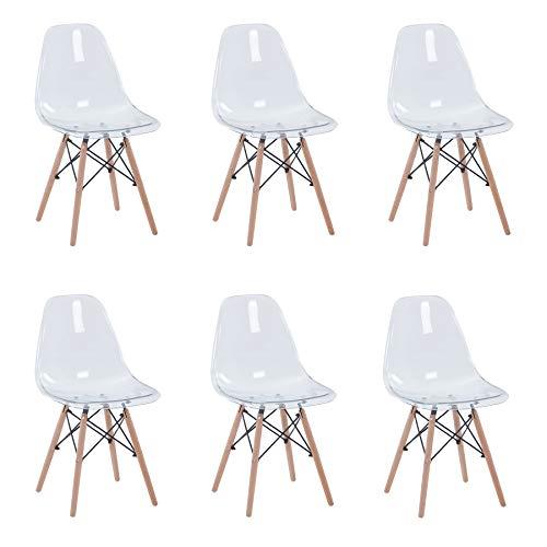 Uderkiny - Lot de 4 / 6 / 8 chaises avec pieds en hêtre, adaptées pour chaises de salle à manger, cuisine, bureau (Transparent-6)