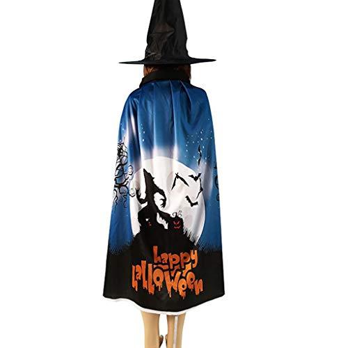 TwoCC - Capa de Disfraz de Halloween para Cosplay, Disfraz de Calavera, murciélago, Calabaza, Capa, toldo, Sombrero de Bruja, B, Talla única