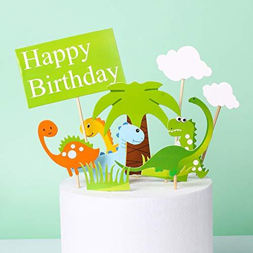 Simon Lee Woodham 10 Pezzi Animale Torta Toppers, Decorazioni per Torte di Compleanno, Kit Topper Torta Dinosauro, per Forniture per Feste di Compleanno per Bambini