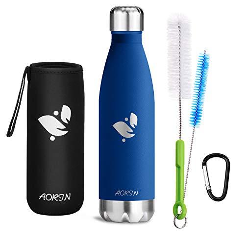 AORIN Vakuum-Isolierte Trinkflasche aus Hochwertigem Edelstahl - 24 Std Kühlen & 12 Std Warmhalten Pulverlackierung Kratzfestigkeit Leicht zu reinigen. (750ml, DunkelBlau)