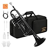 Eastar Standard Bb Black Trumpet Set for Student Beginner Brass Instrument with Hard Case, Gloves, 7 C Mouthpiece, Valve Oil and Trumpet Cleaning Kit, ETR-380B (Black)