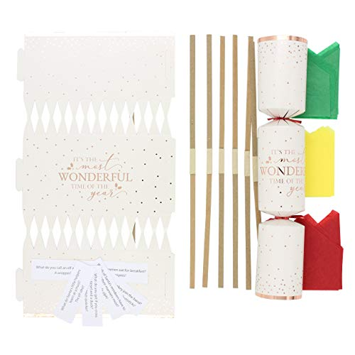evelay Make Your Own Christmas Cracker Kit Crackers Hats Snaps Jokes Rose Party Favours 12 Pieces( Rose Gold )