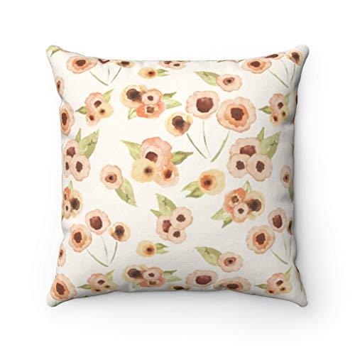 Lplpol Funda de almohada de lona de arte abstracto, color marrón durazno, floral, acuarela, rosa pastel