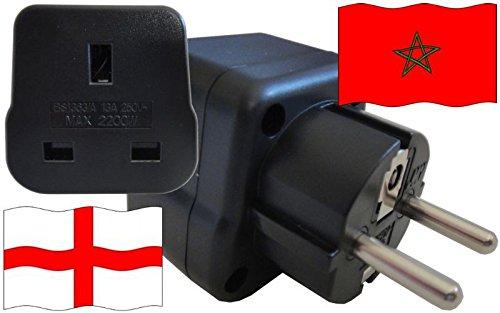 Steckdosenadapter für Marokko - Steckeradapter England mit Schutzkontakt Reise Stecker
