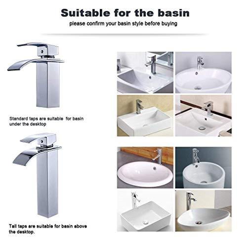 Auralum® Elegant Einhebel Mischbatterie Wasserhahn Armatur Waschtischarmatur Wasserfall Einhandmischer für Bad Badezimmer Waschbecken - 3