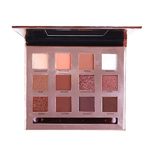 WOZOW Maquillage 12 Couleurs Poudre de Fard à Paupières Poudre de Cosmétique Miroir Set(Multicolore A)