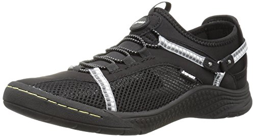 JSport by Jambu Women's Tahoe Encore Walking Shoe, Black/White, 6 M US