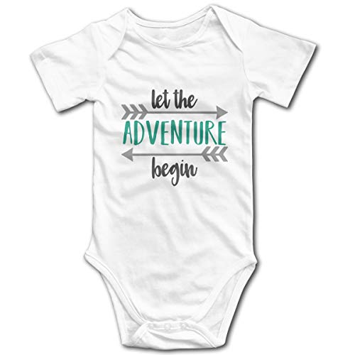 OASCUVER Let New Adventure Begin Cotton Infant Bodysuit Playsuit Union Suit Baby Short-Sleeve Bodysuit White