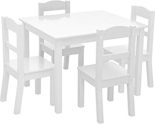 "Heritage Kids Set, White, Table Dimensions: 26"" L x 22"" W x 19"" H Chair Dimensions: 10"" L x 10"" W x 22"" H"