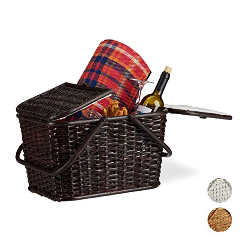 Relaxdays, Schokobraun Picknickkorb mit Deckel, geflochten, Stoffbezug, Henkel, großer Tragekorb, handgefertigt, Rattan, 25 Liter