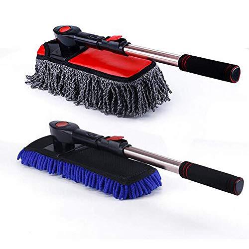 Cepillo Lavado Coche Cepillo de lavado de coches Cepillo suave de chenilla Cepillo de microfibra para remolque y cepillo de agua Cepillo de lavado de mango largo retráctil Adecuado para baño, cocina,