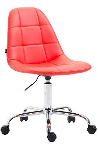 CLP Bürostuhl Reims Mit Kunstlederbezug I Schreibtischstuhl Mit Laufrollen Und Gestepptem Sitz I Höhenverstellbarer Drehstuhl, Farbe:rot