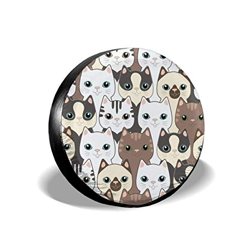 AEMAPE Cubierta de neumático de Repuesto Komik Cats, Ajuste Universal para Jeep, Remolque, RV, SUV, camión y Muchos vehículos, diámetro de 16 Pulgadas