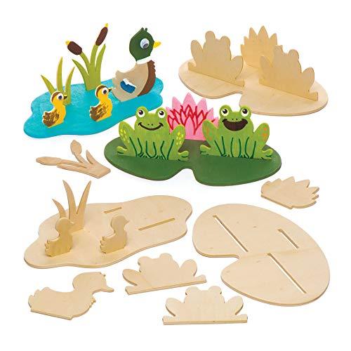 """Baker Ross 3D-Bastelsets """"Im Teich"""" aus Holz (4 Stück) – für Kinder zum Basteln, Gestalten und als Dekoidee"""