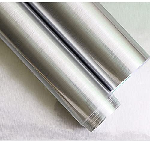Metall-Look Kontaktpapier Silber Regal Papier Geschirrspüler Gerät Kühlschrank Liner Aufkleber Selbstklebende wasserdichte Folie abziehen und aufkleben Wandpapier für Küche Wand (40 x 40 cm)