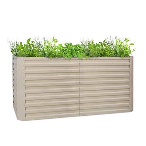 blumfeldt High Grow Straight - Hochbeet Gartenbeet, Material: verzinkter Stahl; Ø 0,6 mm, Rostschutz, 4 Aluminium-Schutzbalken, Größe: 200 x 90 x 100 cm (BxHxT), Volumen: 1800 l, beige