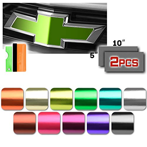 Free Tool Kit 2Pcs 5'x10' Chevy Emblem Bowtie Pink Anodized Chrome Vinyl Wrap Sticker Decal Film Overlay Sheet