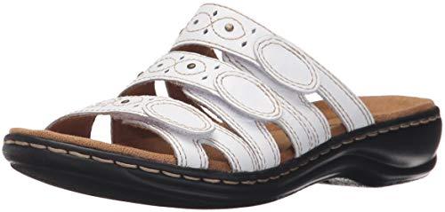 Clarks Women's Leisa Cacti Slide Sandal, White Leather, 9 N US