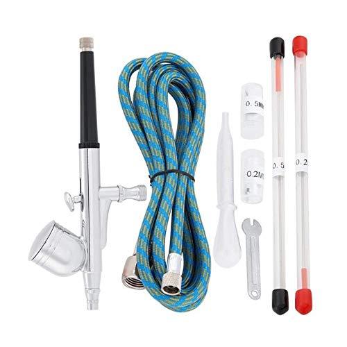 Más larga vida 0,3 0,5 mm boquilla aerógrafo spray para doble acción aerógrafo compresor kit manualidades pintura arte spray conjunto herramientas Slick (color plata)