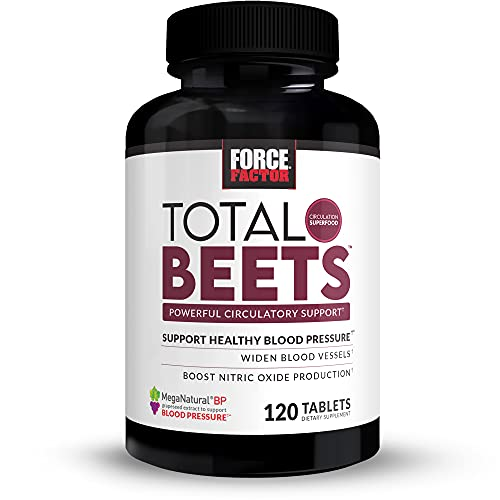 Force Factor Total Beets Blood Pressure Support Supplement with Nitrates and Grapeseed Extract to Boost Nitric Oxide, Circulatory and Cardiovascular Vasodilator Heart Health Vitamins, 120 Count