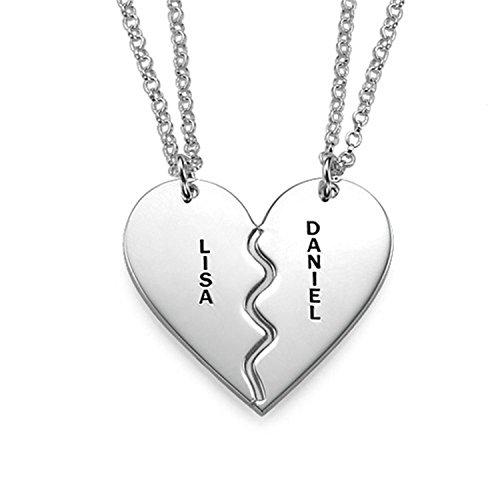 Lloveliness - Collana con nome personalizzabile, con 2 mezzi cuori, ciondolo in argento, regalo per fidanzata e donna