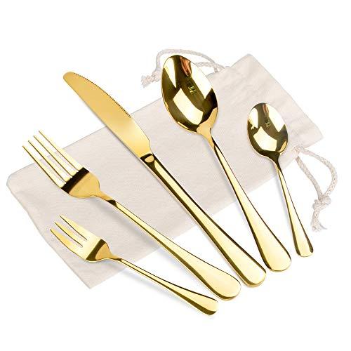 Oziral Cubiertos Dorados Acero Inoxidable 20 piezas, Cubiertos Dorados con Cuchillo,Cuchara,Tenedor,Cuberteria Dorada para 4 Personas Ideal para uso diario en casa.