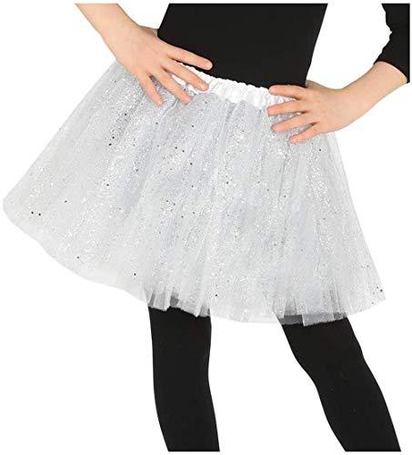 LEMON TREE SL Tutu Falda para Mujer y niña. Falda para Ballet Color Plata. Accesorio Baile Mini Falda Mujer. Tamaño 30cm, Plata.