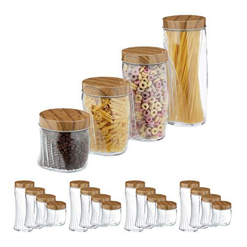 Relaxdays 20 x Vorratsglas, 600, 1000, 1500, 2000 ml, Schraubglas für Müsli, Pasta, Reis, mit Schraubdeckel Metall, transparent
