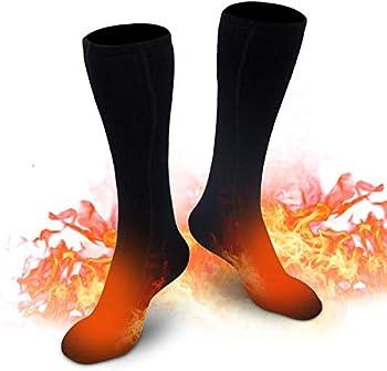 EDUPUP Chaussettes chauffantes pour Homme et Femme, Chaussettes chauffantes électriques d'hiver en Coton pour Sports de Plein air, Camping, pêche, vélo, Moto, Patinage et Ski