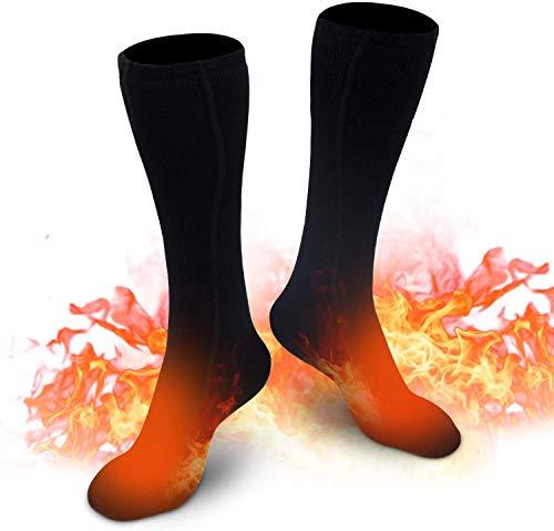Beheizte Socken für Herren Damen, Elektrische Heizsocken Winter Warme Baumwollsocken für Outdoor Sport Camping, Angeln, Radfahren, Motorradfahren, Skaten und Skifahren