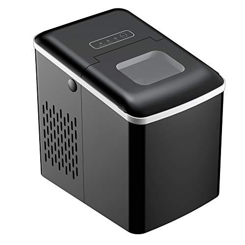 HOMCOM Máquina para Hacer Hielo Silenciosa Potencia 120W Capacidad 12 kg con Pantalla LCD Tanque de 1,8L Limpieza Automática para Cocina Bar 31,5x23x32,5 cm Negro