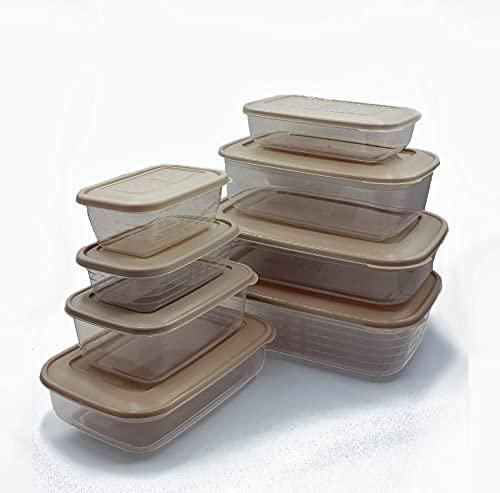 Set de 8 Recipientes de Plástico para Comida, Fiambreras Sin BPA, Táper Apto para Microondas, Congelador y Lavavajillas, Marrón Pastel