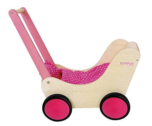 GICO Puppenwagen Lauflernwagen aus Holz, Natur / pink mit Garnitur und Gummirädern