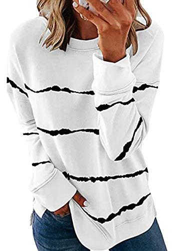 YMING Damen Gestreift Sweatshirts Freizeit Tops Langarm Oberteil Baggy Sweatshirt Weiß S