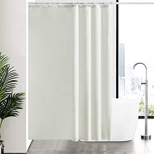 Furlinic Duschvorhang Überlänge aus Stoff, Badvorhang Anti-schimmel & Waschbar, Textile Gardinen in Badezimmer für Badewanne & Dusche,Beige Duschvorhänge 180x210 mit 12 Duschvorhangringe.