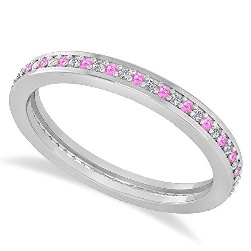 (0.28ct) 14k White Gold Diamond and Pink Sapphire Eternity Channel/Prong Set Wedding Band (0.28 Ct Pink Diamond)