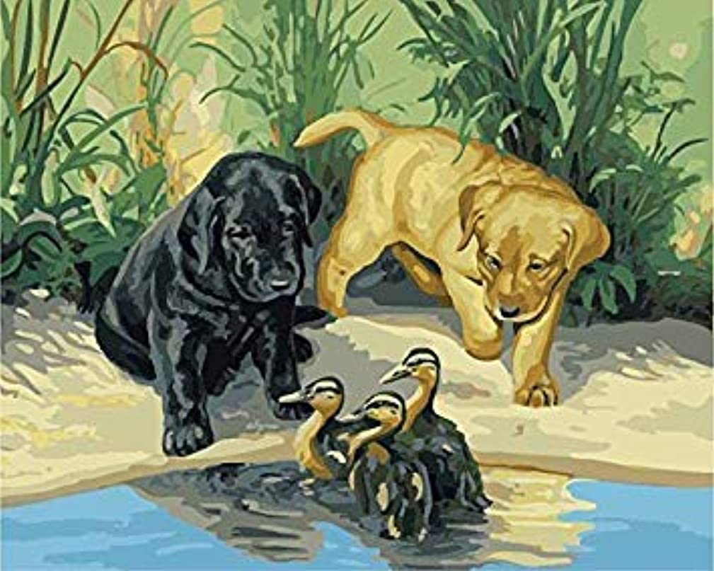 CaptainCrafts New Diy Paint by Numbers 16x20 for Adults Beginner Child, Kids LINEN Canvas - Animal Friendship, Duck And Puppy (Frameless)