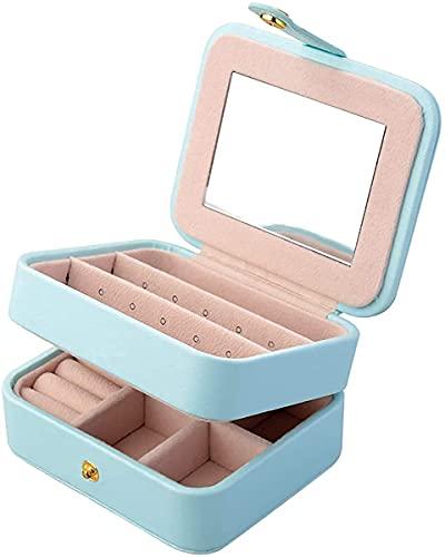 Tinta Caso de joyería de Viaje Faux Cuero 2 Nivel de joyería con Espejo para Pendientes Collar Joyería Pulsera Organizador Joyería Caja de Almacenamiento (Rosa) (Color : Lightblue)