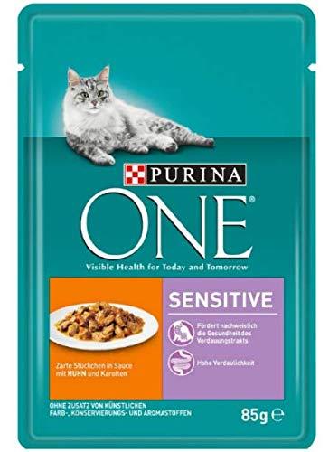 Purina One Sensitive Nassfutter für empfindliche Katzen, Huhn, 24 x 85 g