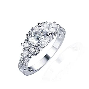 duoduodesign 7-Stone Sparkling 2 Carat Round Cut Engagement Ring with Rhodium Plating
