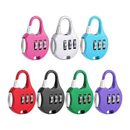 Himetsuya Candado de combinación de candado para equipaje de 6 piezas Candado de combinación ajustable de 3 dígitos para mochila de viaje, casillero, gimnasio, puerta, carpa exterior.