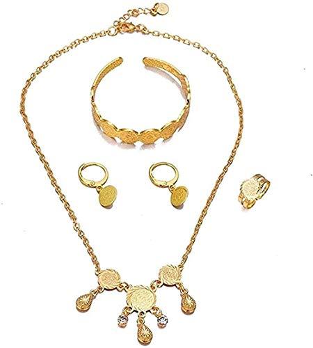 FACAIBA Collar Collar Color Dorado Moda Niños bebé Conjuntos de Joyas Collar/Pendientes/Anillo/Pulsera Regalo para niños Joyería árabe etíope Moneda Regalo para Mujeres Hombres Regalos