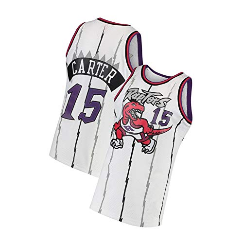 Carter Men's Basketball Jersey Raptors 15#, Retro Embroidery Sleeveless Vests, Summer Cool Breathable Mesh T-Shirts-White-L
