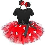 Girls Princess Casual Cartoon Polka Dots Birthday Tutu Dress Up Costume Leotard Ballet Gymnastic Skirt +Mouse Ear Clothes Set Red+Black(Big Dots) 2-3 Years